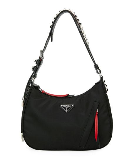 Prada Prada Black Nylon Shoulder Bag w/ Studding