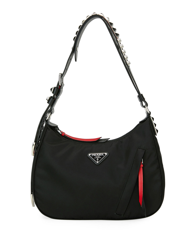 83d67fac0c2290 Prada Prada Black Nylon Shoulder Bag w/ Studding | Neiman Marcus