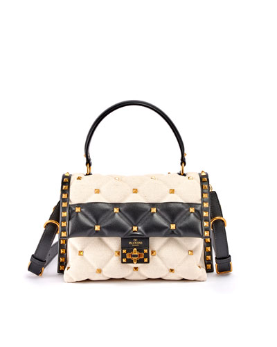 CandyStud Bicolor Canvas & Leather Top-Handle Bag