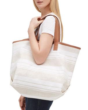 07e204e7b76 Lafayette 148 New York Gesso Striped Travel Tote Bag
