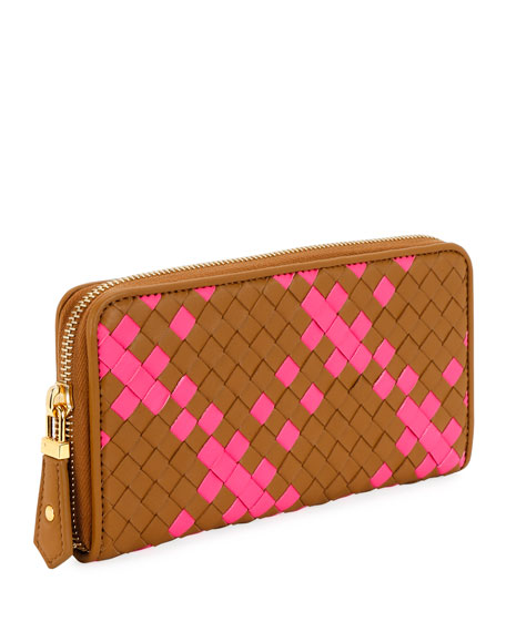 Bottega Veneta Intrecciato Check Zip-Around Wallet