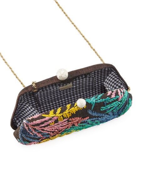 Rafe Rosie Leaf-Embroidered  Clutch Bag