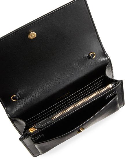 Saint Laurent Sunset YSL Monogram Wallet on Chain - Golden Hardware