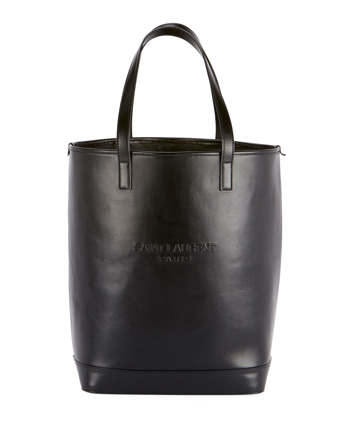 Teddy Harlem Large Leather Bucket Bag With Embossed Logo by Saint Laurent