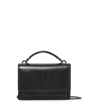 f7b068275e Saint Laurent Sunset YSL Monogram Wallet on Chain - Black Hardware