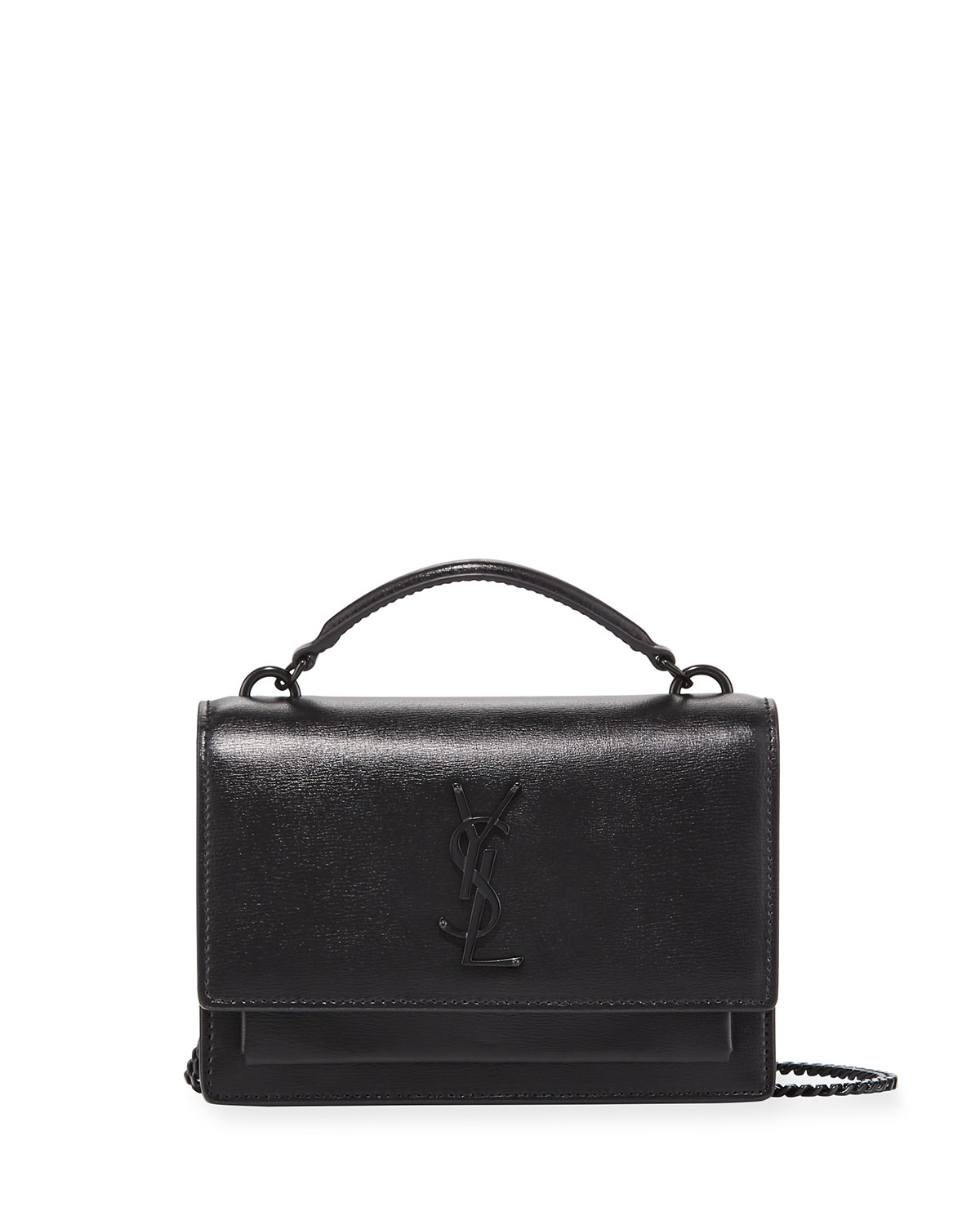 329c20c645 Saint Laurent Sunset YSL Monogram Wallet on Chain - Black Hardware ...