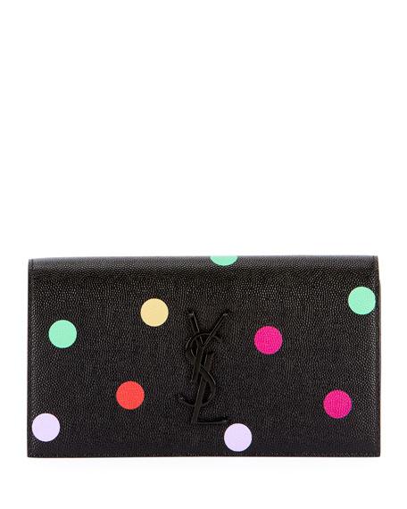 Saint Laurent YSL Monogram Polka-Dot Leather Wallet