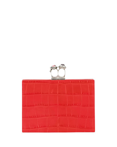 Jewelled Double Ring Crocodile-Embossed Clutch Bag - Silvertone Hardware