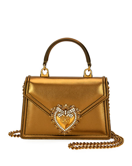 Dolce & Gabbana Devotion Mini Metallic Leather Top-Handle Bag