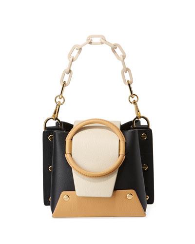 Delila Mini Colorblock Leather Ring Bucket Bag