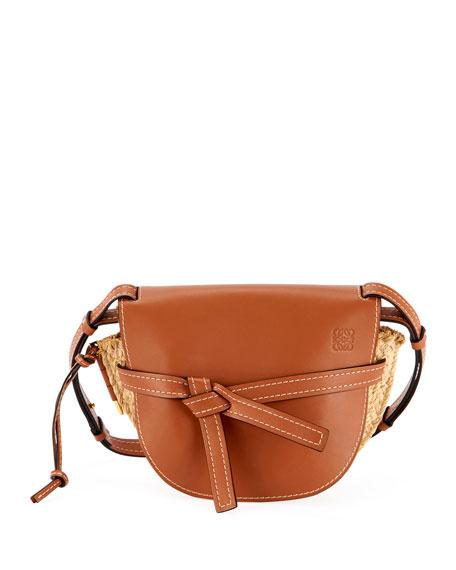 Loewe Gate Small Soft Calf & Raffia Shoulder Bag