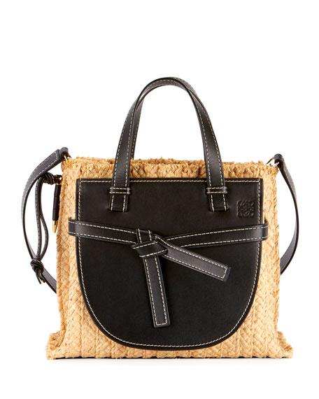 Loewe Gate Small Raffia Top-Handle Tote Bag