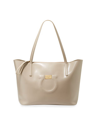 3dd83c1634ec Salvatore Ferragamo Gancio City Large Leather Tote Bag