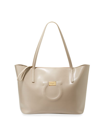 Gancio City Large Leather Tote Bag