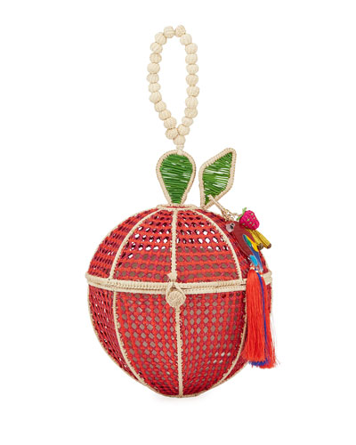 Red Apple Raffia Top-Handle Bag