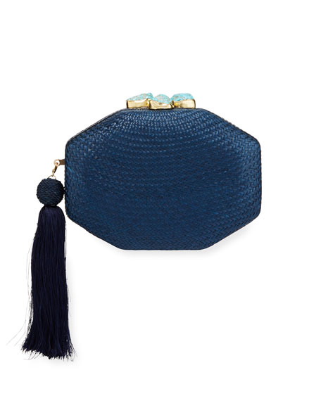Rafe Sofia Woven Octagon Clutch Bag, Blue