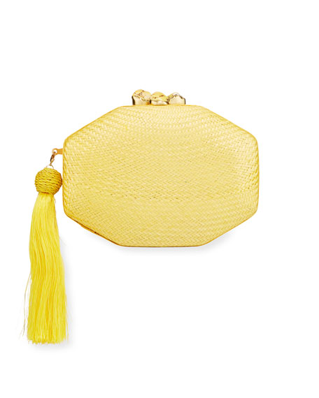 Rafe Sofia Woven Octagon Clutch Bag, Yellow