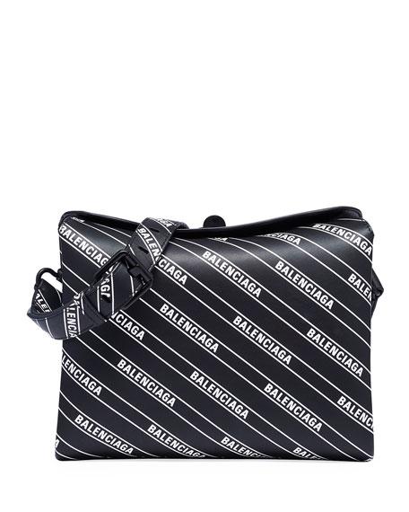 Balenciaga Small Logo Print Flap Shoulder Bag Neiman Marcus