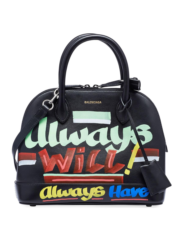 e15ff7aac15e79 Balenciaga Ville Small AJ 'Always New Now' Top-Handle Bag with Logo Graffiti