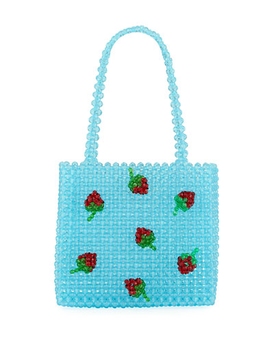 Strawberry Beaded Top Handle Bag