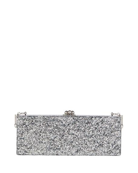 Edie Parker Flavia Glitter Frame Clutch Bag