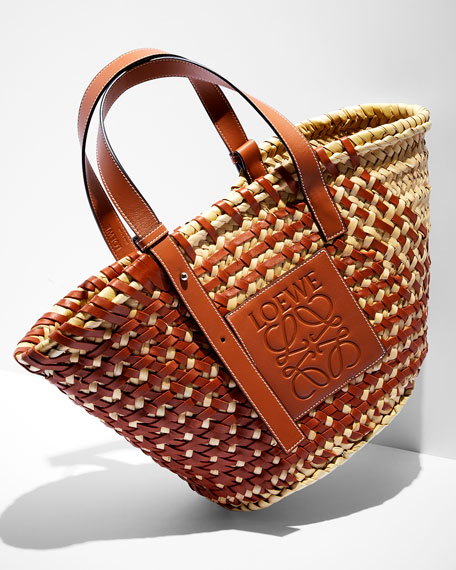 Loewe Large Woven Leather & Palm Tote Bag