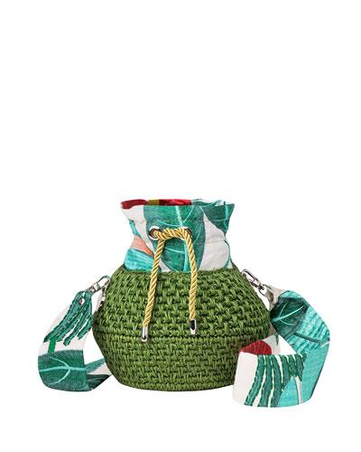 Diamond Basket Embroidered Bucket Bag