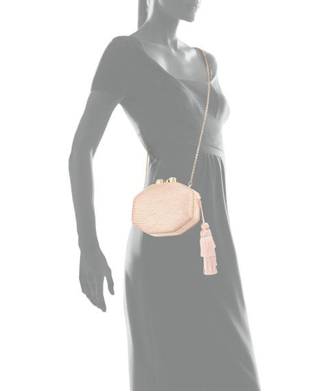 Rafe Sofia Straw Clutch Polygon Bag, Pink