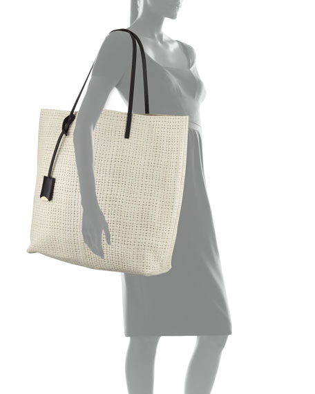 Linde Gallery Leather Medium Tote Bag, Ivory
