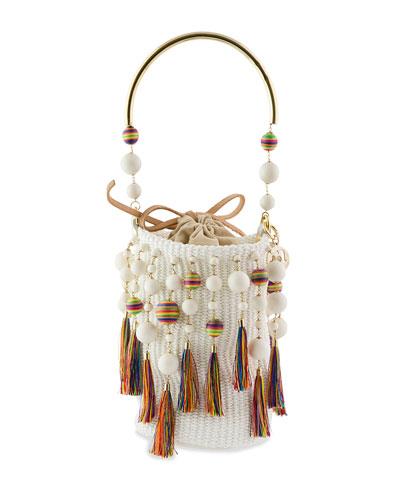 Laura Woven Tasseled Minaudiere Bag
