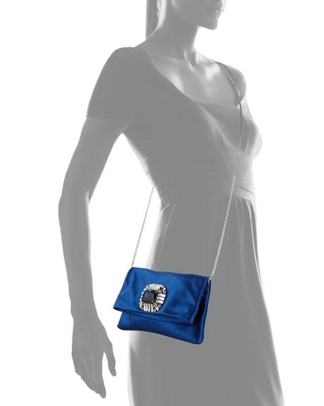 Jimmy Choo Titania Jeweled Satin Clutch Bag, Blue