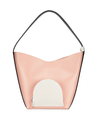 Eva Colorblock Leather Bucket Bag  Blush