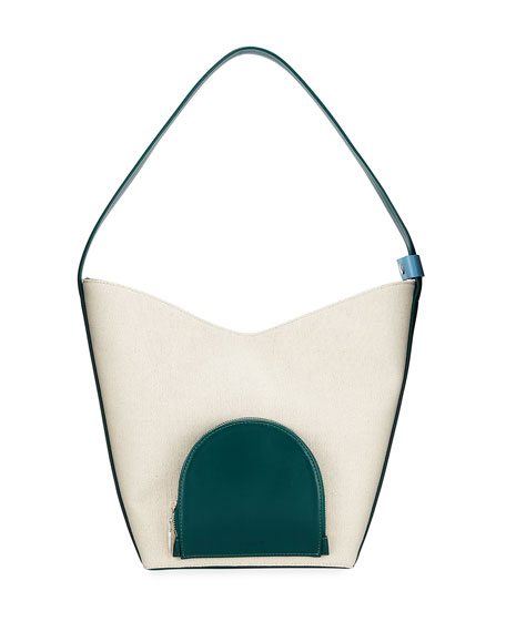 Complet Eva Colorblock Canvas & Leather Bucket Bag, White/Green