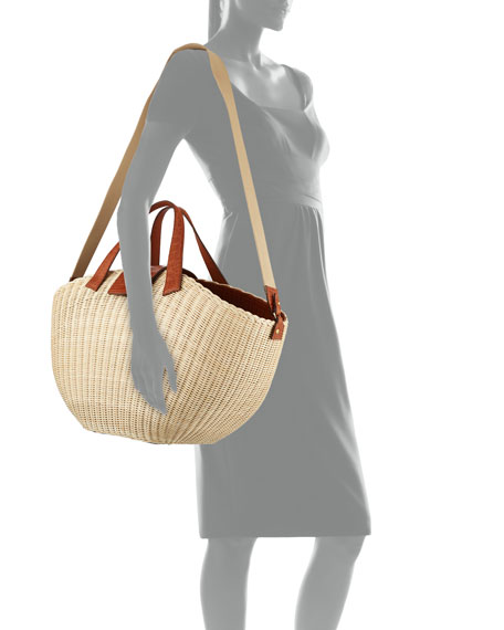 Nancy Gonzalez Wicker & Crocodile Large Tote Bag