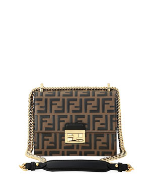 6bbe13162a14 Fendi Kan I FF-Embossed Two-Tone Crossbody Bag