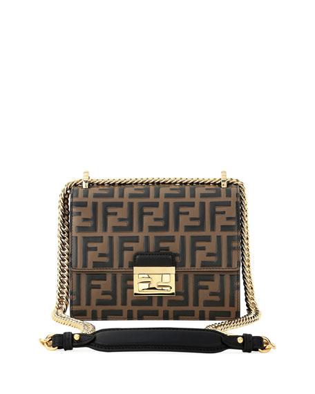 Fendi Kan U FF-Embossed Two-Tone Crossbody Bag