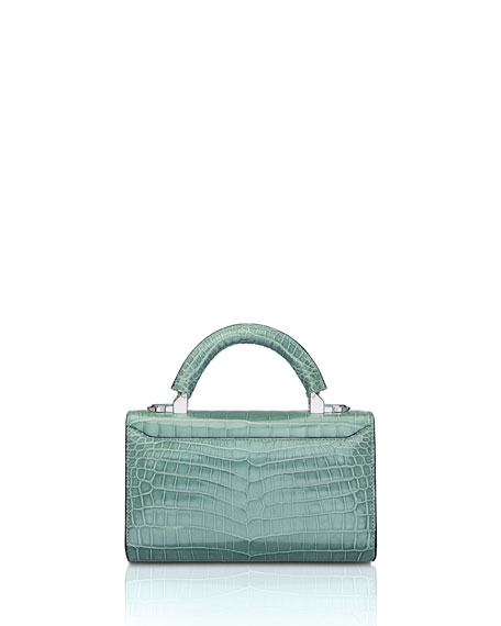 STALVEY Glossy Crocodile Mini Top Handle Bag, Green
