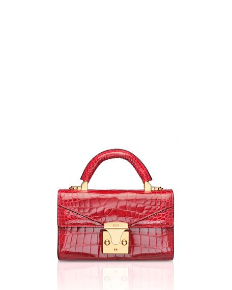 STALVEY Mini Crocodile Top Handle Bag, Red