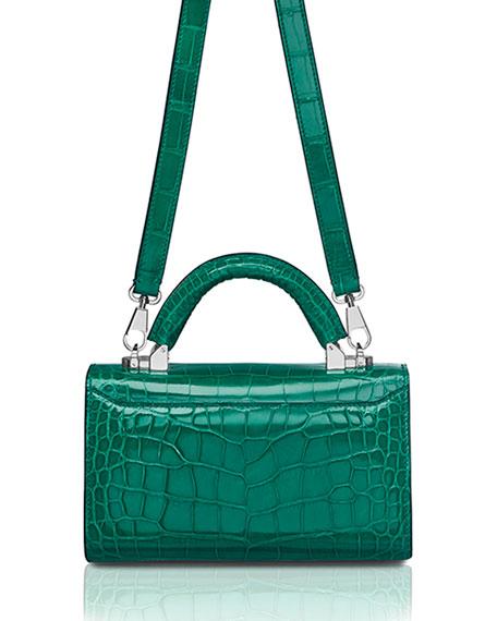 STALVEY Mini Crocodile Top Handle Bag, Green