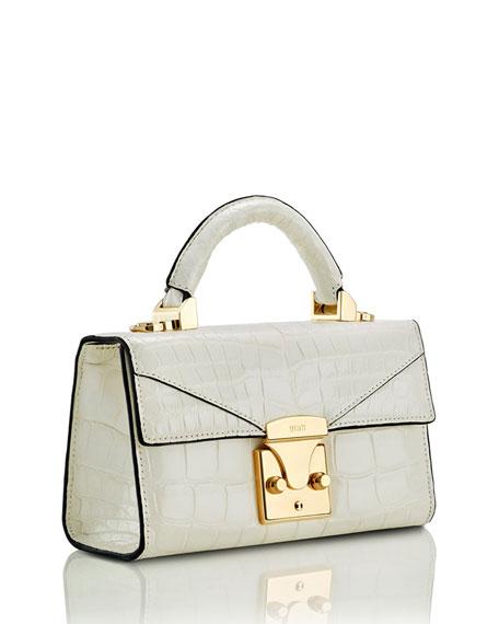 STALVEY Mini Crocodile Top Handle Bag, Off White