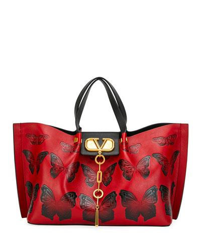 VLOGO Escape Medium Leather Shoulder Bag w/ Embossed Butterflies