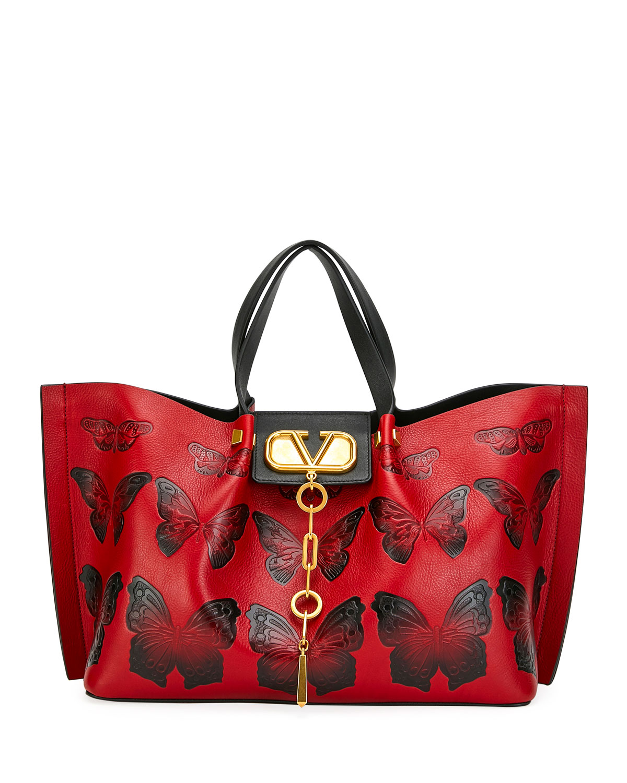 ba201aadbc Valentino Garavani VLOGO Escape Medium Leather Shoulder Bag w/ Embossed  Butterflies
