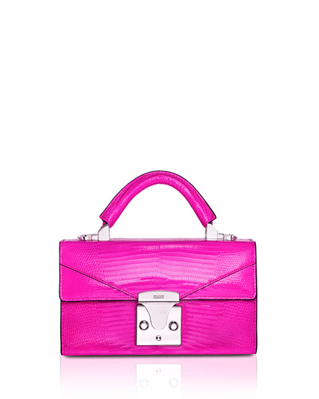 STALVEY Mini Lizard Top Handle Bag, Bright Purple