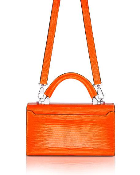 STALVEY Mini Lizard Top Handle Bag, Bright Orange