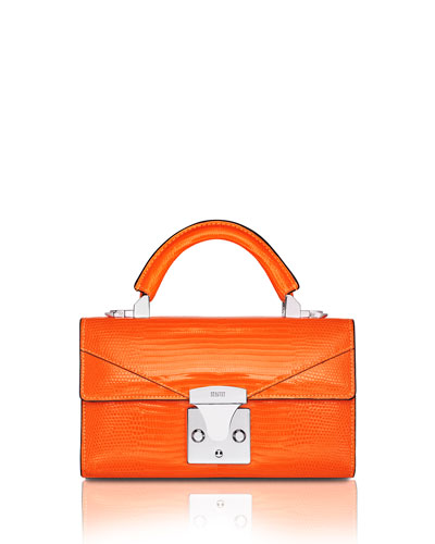 Mini Lizard Top Handle Bag  Bright Orange