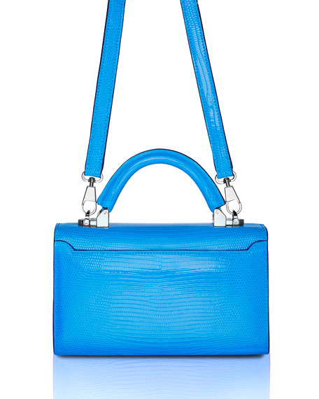 STALVEY Mini Lizard Top Handle Bag, Bright Blue
