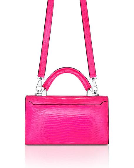 STALVEY Mini Lizard Top Handle Bag, Bright Pink