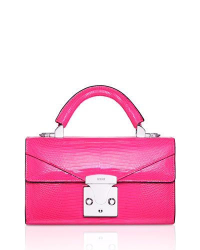 Mini Lizard Top Handle Bag  Bright Pink