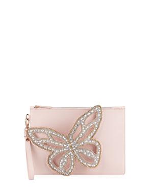 2ae9fc730878 Sophia Webster Flossy Pearled Butterfly Wristlet Bag