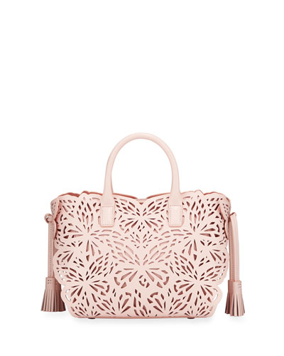 Liara Mini Laser-Cut Leather Butterfly Tote Bag